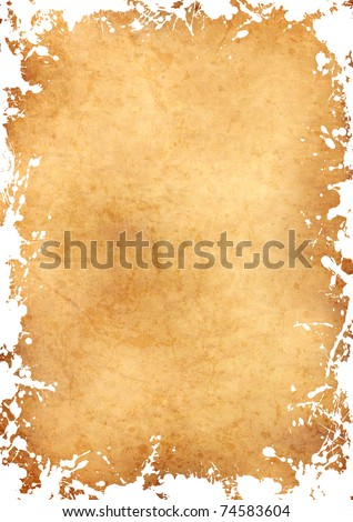 parchment sheet with grunge white ink frame - stock photo