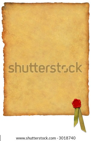 Parchment w/ Wax Seal - stock photo