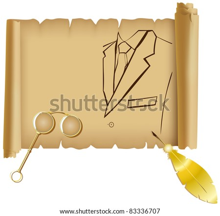 Parchment with a silhouette of men suits, gold feather and eyeglasses