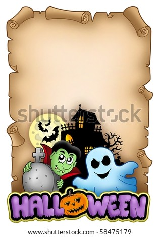 Parchment with Halloween theme 3 - color illustration. - stock photo