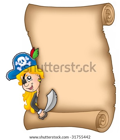 Parchment with lurking pirate girl - color illustration. - stock photo