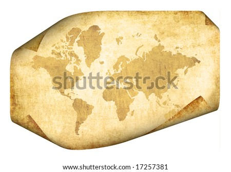 Parchment with map of the world