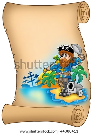 Parchment with pirate and cannon - color illustration. - stock photo