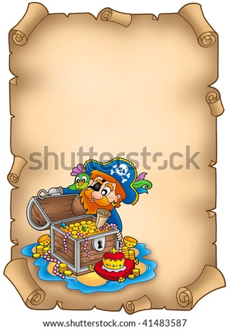 Parchment with pirate and treasure - color illustration. - stock photo