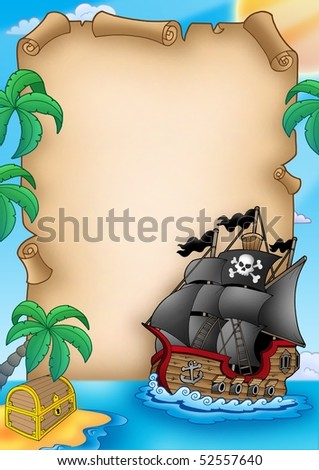 Parchment with pirate vessel - color illustration. - stock photo