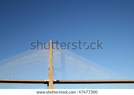 parcial view of vasco da gama's bridge in lisbon - stock photo
