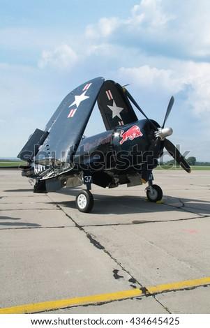 PARDUBICE, CZECH REPUBLIC - 29 May 2016: Aircraft F4U Corsair in aviation fair and century air combats, Pardubice, Czech Republic on 29 May 2016 - stock photo