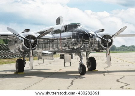 PARDUBICE, CZECH REPUBLIC - 29 May 2016: B-25 Mitchell in aviation fair and century air combats, Pardubice, Czech Republic on 29 May 2016 - stock photo