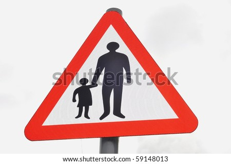 Parent and child road sign - stock photo