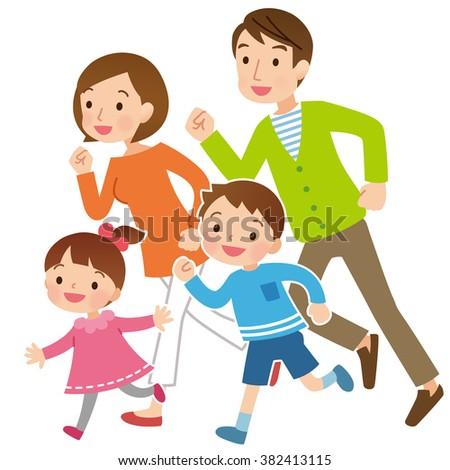 Parent and child to run  - stock photo