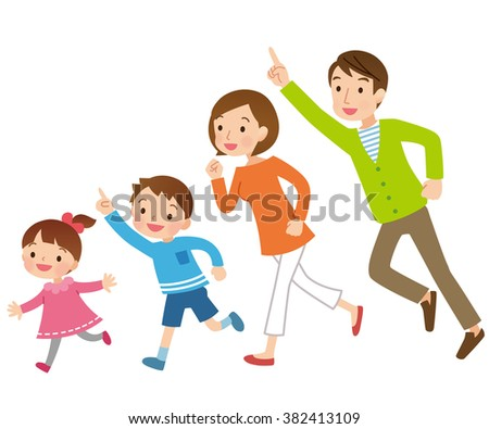 """Parent and child to run """"pointing"""" - stock photo"""