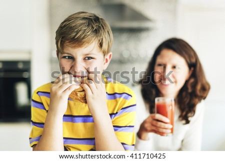 Parent Child Kid Meal Juice Bread Boy Starving Concept - stock photo