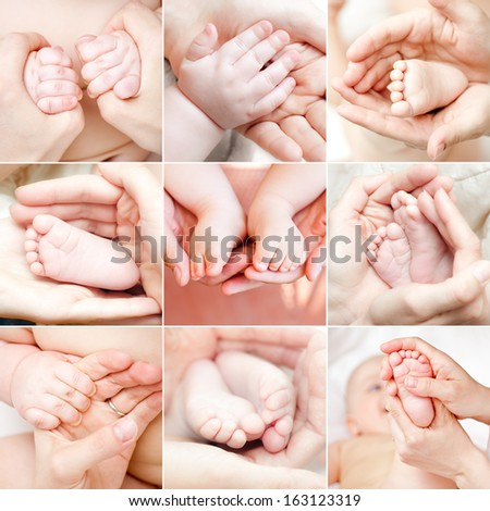 Parent holding baby hand and feet collection - stock photo