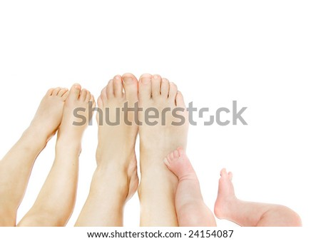 parent's, child's and baby's feet over white
