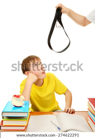 Parent threaten Son with a Belt Isolated on the White Background - stock photo