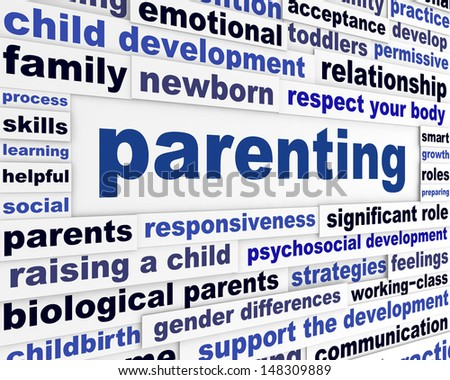Parenting educational message design. Parents responsiveness learning words background - stock photo
