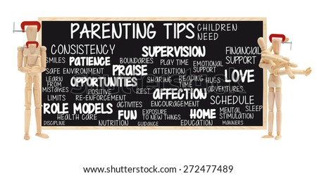 Parenting Tips Children Need: Supervision, Love, Time, Attention, Responsible Parents, Role Models, Opportunities, Home, Consistency. Adult Mannequins in head vice grip holding children Mannequins - stock photo