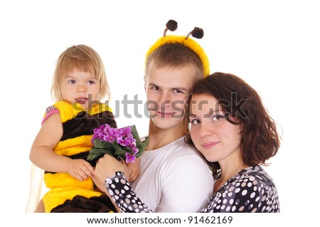 parents and daughter in bee costume on white