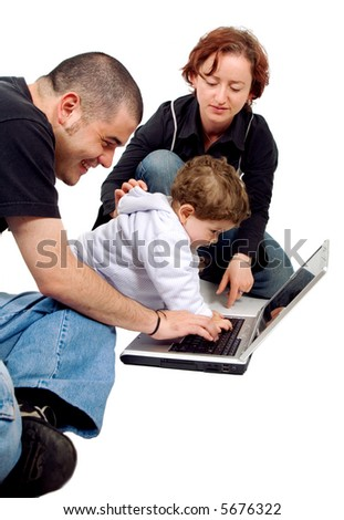 parents and kid on a laptop computer isolated over a white background