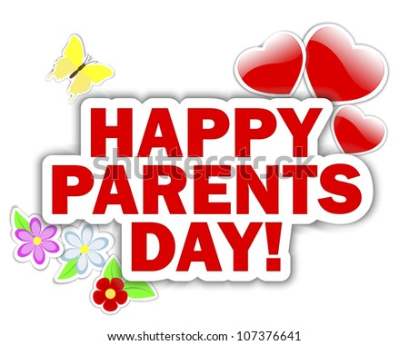 Parents day stickers with hearts, flower and butterfly.  Raster version. - stock photo