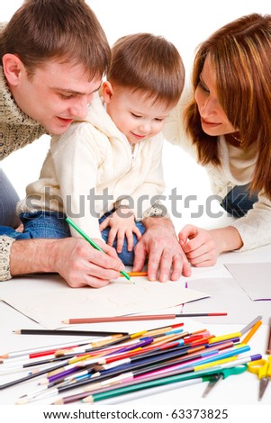Parents drawing  with  little son