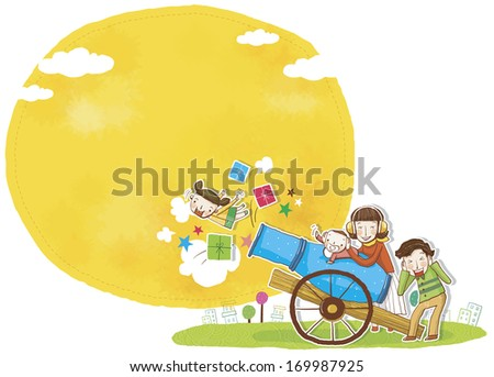 Parents shooting their child and some presents out of a cannon. - stock photo