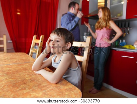 Parents swear, and children suffer - stock photo