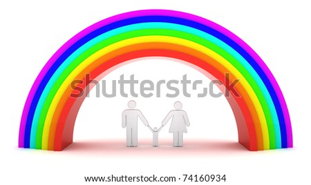 Parents with a kid under rainbow - stock photo