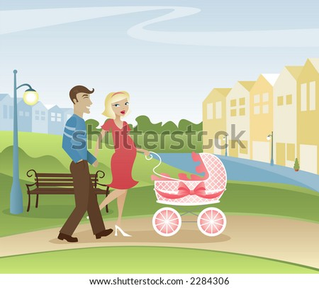 Parents with another one on the way - taking a stroll through the park - stock photo