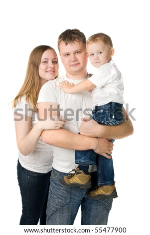 parents with child on hands isolated on white - stock photo