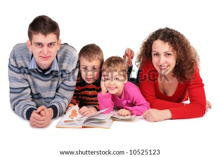 parents with children and books looking in camera