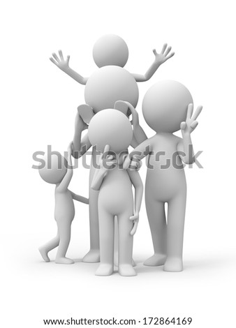 Parents with children,Concept of family - stock photo