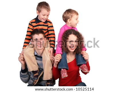 parents with children on shoulders