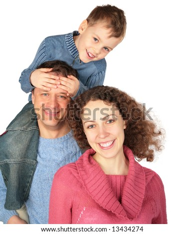 parents with son on father`s shoulders on white