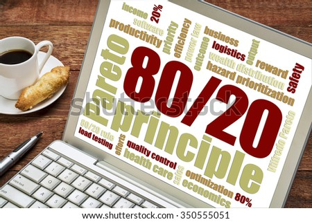 Pareto principle or eighty-twenty rule concept  word cloud on a laptop with a cup of coffee - stock photo