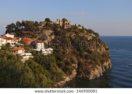 Parga town and the Venetian castle near Syvota in Greece. Ionian sea - stock photo