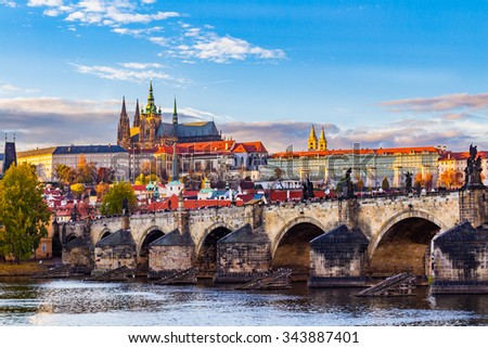 Pargue at golden hour, view of the Lesser Bridge Tower of Charles Bridge (Karluv Most) and Prague Castle, Czech Republic. - stock photo