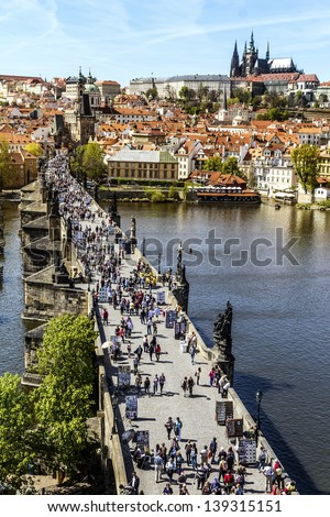 Pargue , wiew of the Lesser Bridge Tower of Charles Bridge (Karluv Most) and Prague Castle, Czech Republic. - stock photo