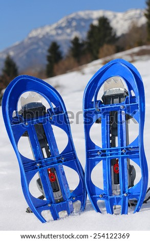 pari of blue modern snowshoes in the mountain - stock photo