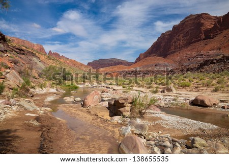Paria River Canyon backpack.  This is a 38 mile backpack down this spectacular slot canyon, beginning in Utah above Page, Arizona, and ending in Lee's Ferry, Arizona. - stock photo