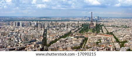 Paris aerial panoramic view from Montparnasse tower over Champs de Mars and Eiffel tower.