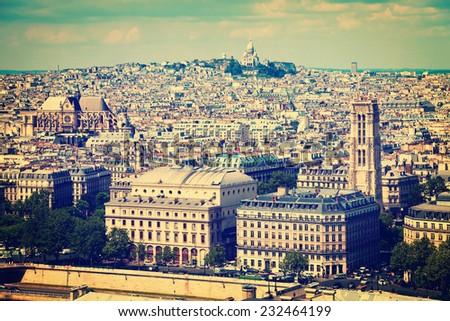Paris aerial view, France - vintage toned photo. - stock photo