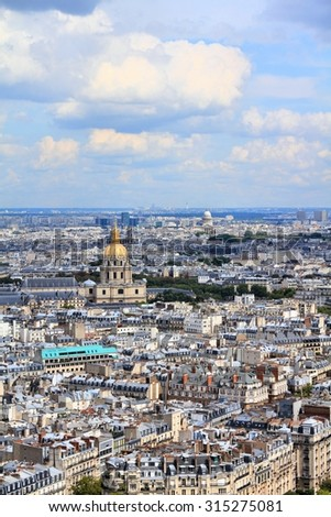 Paris aerial view from Eiffel Tower - French capital city architecture. - stock photo