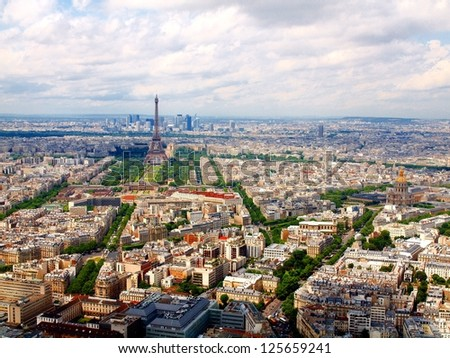 Paris aerial view from Montparnasse tower. France. - stock photo