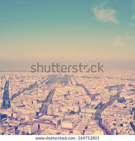 Paris aerial view from Montparnasse tower.  Instagram style filtred image - stock photo