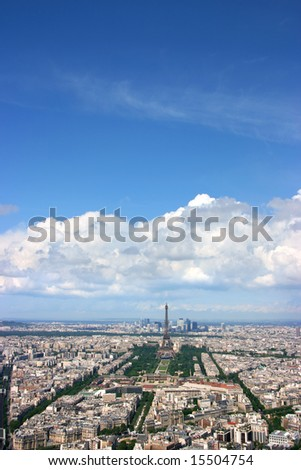 Paris aerial view from Montparnasse tower, looking west.