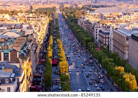 Paris aerial view from Triumphal Arch on Champs Elysees - stock photo