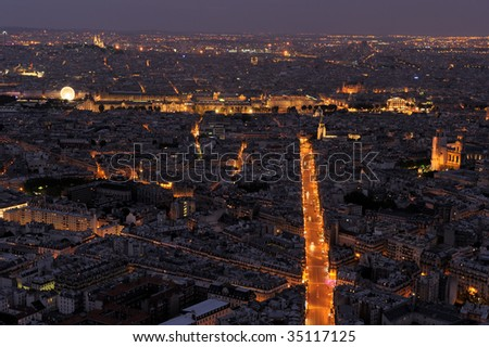 Paris aerial  view. Louvre, Saint Michel, and many other landmarks