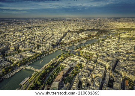 Paris aerial view with Seine River, France - stock photo