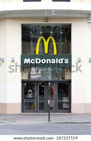 PARIS - APR 08: McDonald's in Paris,France, Apr 08, 2014. The Company's sales increased 6.0%, (U.S. +5.3%, Europe +4.1% and Asia/Pacific, Middle East and Africa +8.1%) (PRNewswire)